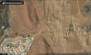 Overhead view of the Scout Cave/Paradise Rim area where a hiker was hiking when she fell ill on Feb. 26, 2016. | Image courtesy Google Earth, St. George News