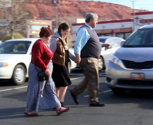 Varlo Davenport walks with his wife and daughter after a hearing Wednesday at the Washington County Justice Court, St. George, Utah, Feb. 10, 2016 | Photo by Sheldon Demke, St. George News