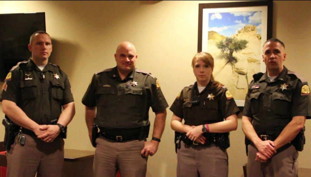L-R, Sgt. Ben Fallows, Captain Steven Winward, Trooper Charity Thomas, Lt. Paul Kotter, DUI Squad, St. George, Utah, Feb. 20, 2016| Photo by Cody Blowers, St. George News