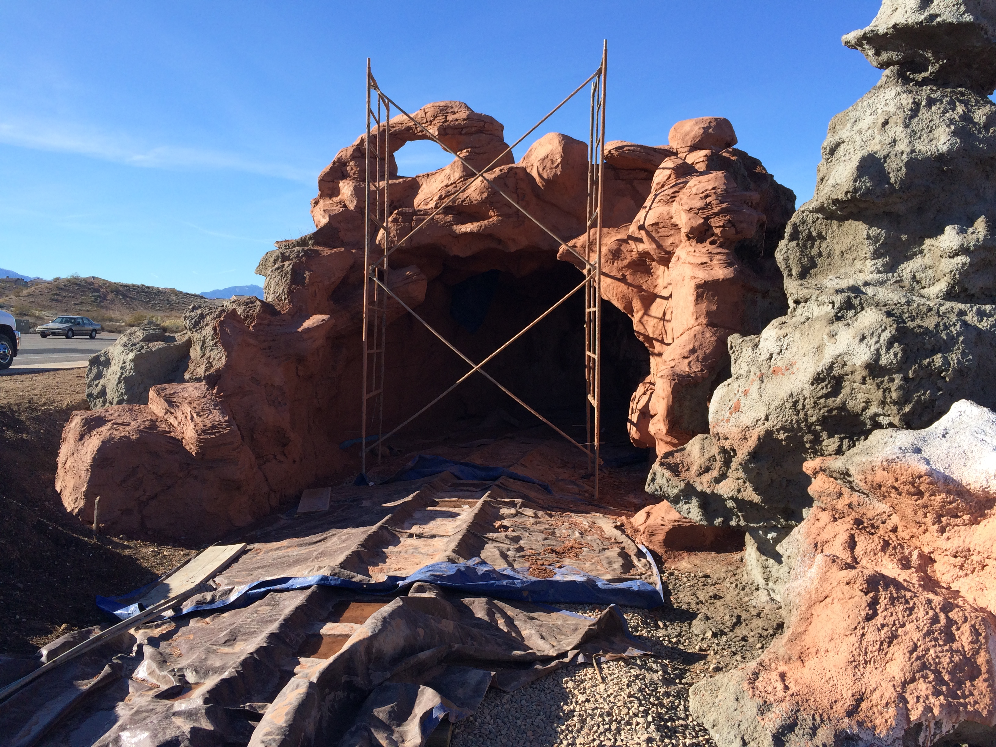 Faux-rock features at the St. George All Abilities Park and Playground are nearing completion in time for an anticipated spring opening date. All Abilities Park and Playground, St. George, Utah, Feb. 5, 2016 | Photo by Don Gilman, St. George News