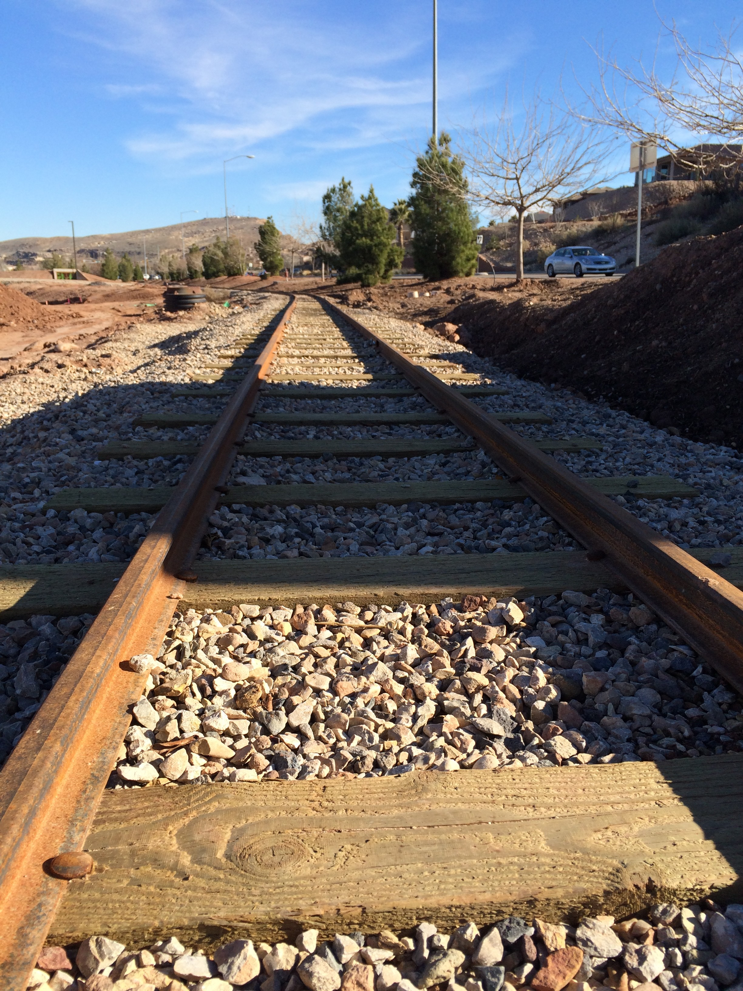 Train tracks at the St. George All Abilities Park and Playground, St. George, Utah, Feb. 5, 2016 | Photo by Don Gilman, St. George News