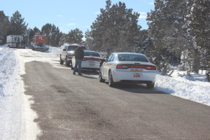 EMTs and Sheriff's Deputies on scene at the rescue staging area just outside of Enterprise, Utah on Feb. 2, 2016. | Photo by Don Gilman, St. George News