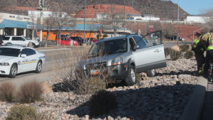 The driver of a gray Hyundai Tucson lost control of her vehicle on Thursday morning and crashed onto the gravel embankment next to N. 1680 East, St. George, Utah, Feb. 4, 2016| Photo by Don Gilman, St. George News