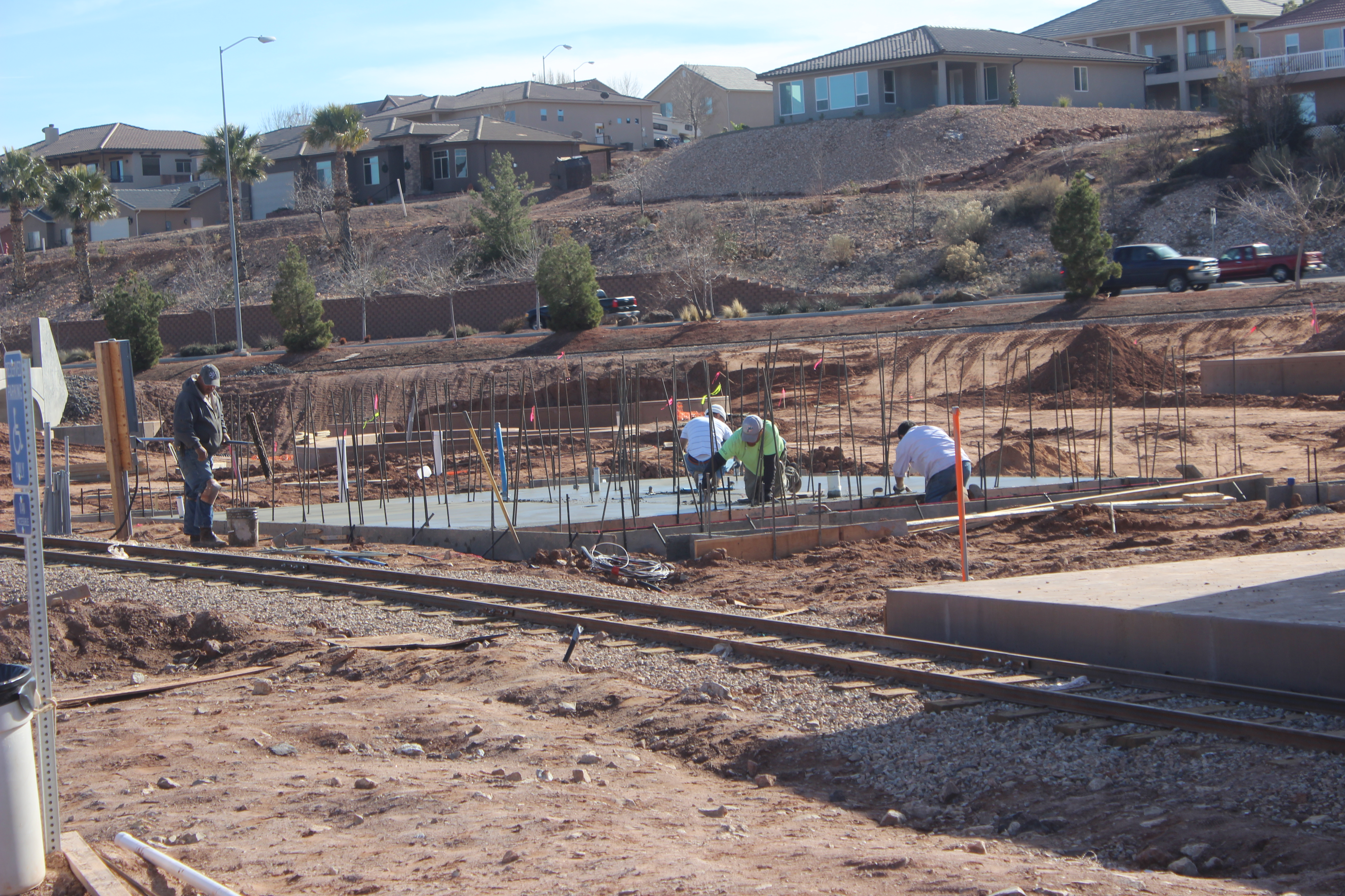 Workers laying cement during construction of the St. George All Abilities Park and Playground, St. George, Utah, Feb. 5, 2016 | Photo by Don Gilman, St. George News