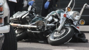 A 2000 Harley Davidson motorcycle that was involved in a collision with a 2015 Chevy Silverado early Wed., Feb. 17, 2016 | Photo by Don Gilman, St. George News