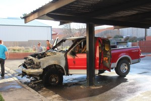 Ford pickup truck that caught fire at apartment complex, 42 W 500 North, Washington, Utah, Feb. 26, 2016| Photo by Cody Blowers, St. George News