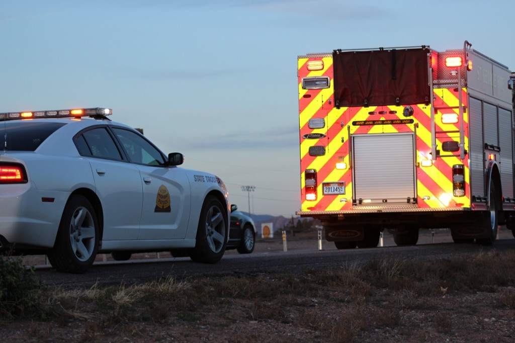 UHP and St.George Fire Department on scene of motorcycle accident, Interstate 15 northbound, St. George Utah, Feb. 26, 2016| Photo by Cody Blowers, St. George News