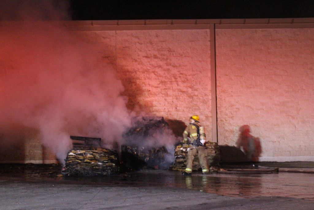 Firefighters fight blaze behind Kmart Friday evening, 745 S. Bluff St., St. George, Utah, Feb. 26, 2016| Photo by Cody Blowers, St. George News