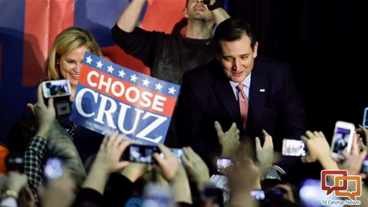 Republican presidential candidate, Sen. Ted Cruz, R-Texas, arrives for a caucus night rally. Cruz sealed a victory in the Republican Iowa caucuses, winning on the strength of his relentless campaigning and support from his party's die-hard conservatives, Des Moines, Iowa, Monday, Feb. 1, 2016   AP Photo by Chris Carlson, St. George News