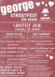 George Streetfest, LoveFest, schedule of events, location and date not specified   Schedule courtesy of Emceesquare Media, Inc., St. George News