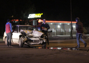 Six teens collided, three in a silver Saturn and three in a white Honda Civic, slowing traffic at 600 S. Main St. near Smith's Food and Drug, Cedar City, Utah, Feb. 10, 2016 | Photo by Carin Miller, St. George News