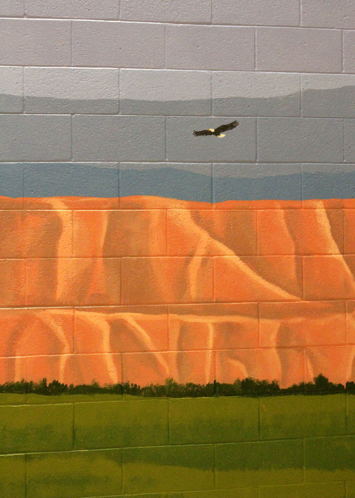 """A bald eagle soars across the horizon in the outdoor landscape included in the 40-foot """"Mural of Hope"""" painted by Southwest Utah Youth Center youth, Cedar City, Utah, Feb. 16, 2016 