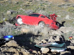 An accident on I-15 near Leeds Monday morning injures one person and triggers a second accident, Leeds, Utah, Feb. 29, 2016 | Photo by Julie Applegate, St. George News