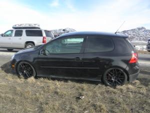 Black 2007 Volkswagen GTI, Milepost 85, North Interstate 15, Iron County, Utah   Photo courtesy of Utah Highway Patrol, St. George News