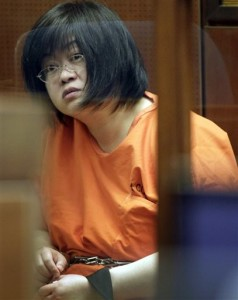 """In this March 16, 2012 file photo Dr. Hsiu-Ying """"Lisa"""" Tseng sits in a Los Angeles courtroom during her arraignment. Tseng, convicted of murder for prescribing """"crazy, outrageous amounts"""" of painkillers that killed three patients, faces a life sentence Friday, Feb. 5, 2016, after her conviction on second-degree murder charges in a landmark case 