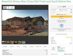 Screenshot of a Dixie Springs vacation rental on vrbo, Feb. 10, 2016 | St. George News