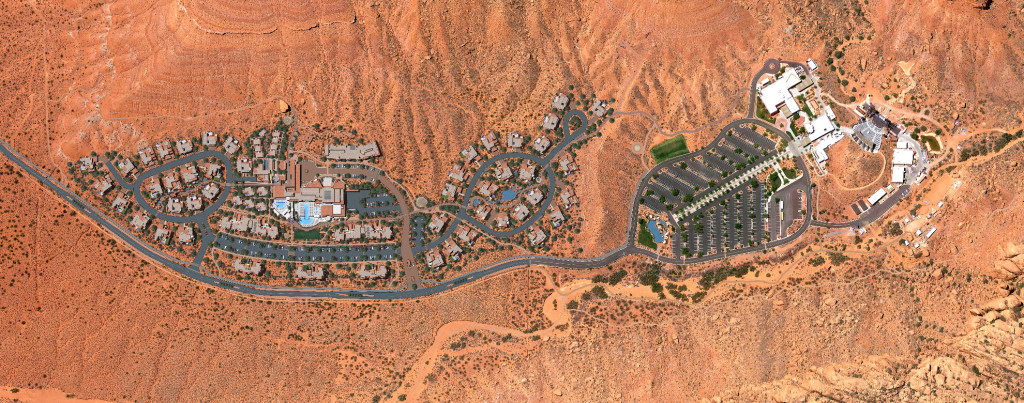 Map showing the planned Sentierre Resort, left, with the existing Tuacahn Center for the Arts on the right | Image courtesy of Sentierre Resort, St. George News