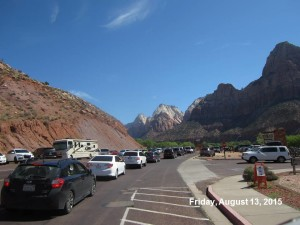 Long lines at the South Entrance to Zion National Park on August 13, 2015. | Photo courtesy Zion National Park, St. George News