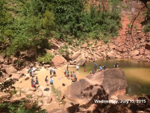 Large groups gathering around the upper emerald pools in Zion on July 15, 2015. | Photo courtesy Zion National Parkk, St. George News