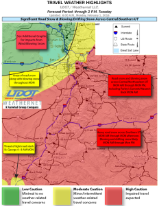 Travel weather highlights for Utah, Feb 1, 2016   Photo courtesy of UDOT, St. George News