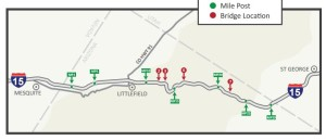 Map depicting mileposts along Interstate 15 through the Virgin River Gorge | Image courtesy of Arizona Department of Transportation, St. George News | Click on image for clarity and to enlarge
