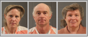 L-R: Ruth Peine Barlow, Winford J. Barlow, Kristal Meldrum Dutson, each booked into Washington County Purgatory Correctional Facility Tuesday in connection with a federal indictment naming 11 leaders and members of the Fundamentalist Church of Jesus Christ of Latter Day Saints on conspiracy and money laundering charges, Davis and Washington counties, respectively, Feb. 23, 2016 | Photos courtesy of Washington County Sheriff's Office, St. George News