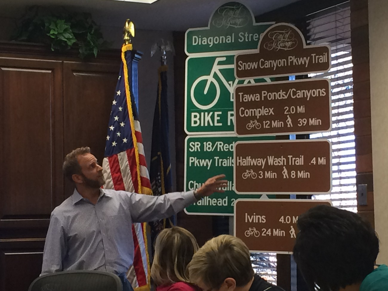 Marc Mortensen, assistant to the City Manager of St. George, during a presentation to the City Council related to new trail system signage and the activities of the Active Transportation Committee, Feb. 11, 2016 | Photo by Mori Kessler, St. George News