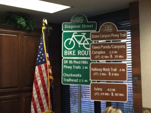 Examples of new signs that will appear along St. George's bike routes and trail system, Feb. 11, 2016 | Photo by Mori Kessler, St. George News