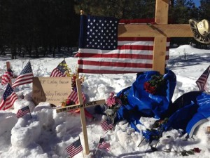 A makeshift roadside memorial for rancher LaVoy Finicum stands on a highway north of Burns, Oregon Sunday, Jan. 31, 2016. Finicum was killed Jan. 26 in a confrontation with the FBI and Oregon State Police on a remote road. Four people occupying the Malheur National Wildlife Refuge held their position Sunday. They have demanded that they be allowed to leave without being arrested, Burns, Oregon, Jan. 31, 2016 | AP Photo/Nick K. Geranios, St. George News