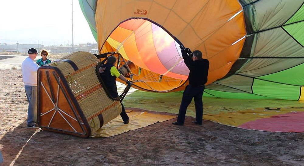 Rocky Neal and crew heat the air in their hot air balloon prior to taking seniors on a ride Wednesday, St. George, Utah, Feb. 10, 2016 | Photo by Mike Cole, St. George News