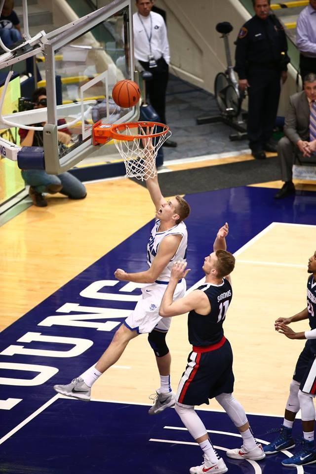 Kyle Davis scores.   Photo courtesy BYU Photo