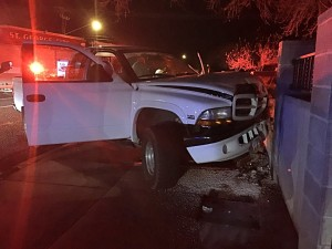 A driver lost control of her truck and smashed into a cement wall near the intersection of 400 East and 300 South, St. George, Utah, Feb. 28, 2015 | Photo by Kimberly Scott, St. George News