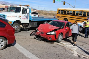 An accident on 3050 East Tuesday damaged three cars and three people were taken to the hospital. St. George, Utah, Feb. 16, 2016 | Photo by Ric Wayman, St. George News