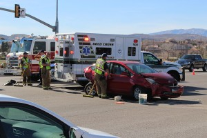 An accident Thursday on Dixie Drive totaled one car and seriously damaged another, St. George, Utah, Feb. 11, 2016 | Photo by Ric Wayman, St. George News