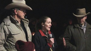 Challise Finicum Finch, one of LaVoy Finicum's daughters, expresses her gratitude for the support her family has been shown in the wake of her father's death. She told the crowd the best way to honor her father's memory is to learn about the Constitution and share that knowledge with others, Washington City, Utah, Feb. 1. 2016 | Photo by Mori Kessler, St. George News