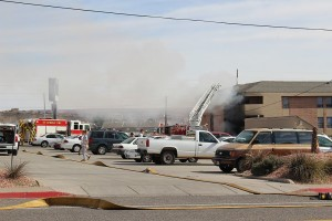 A fire in an apartment complex near Dixie State University Monday injured one person and displaced 10 others, St. George, Utah, Feb. 15, 2016 | Photo by Ric Wayman, St. George News