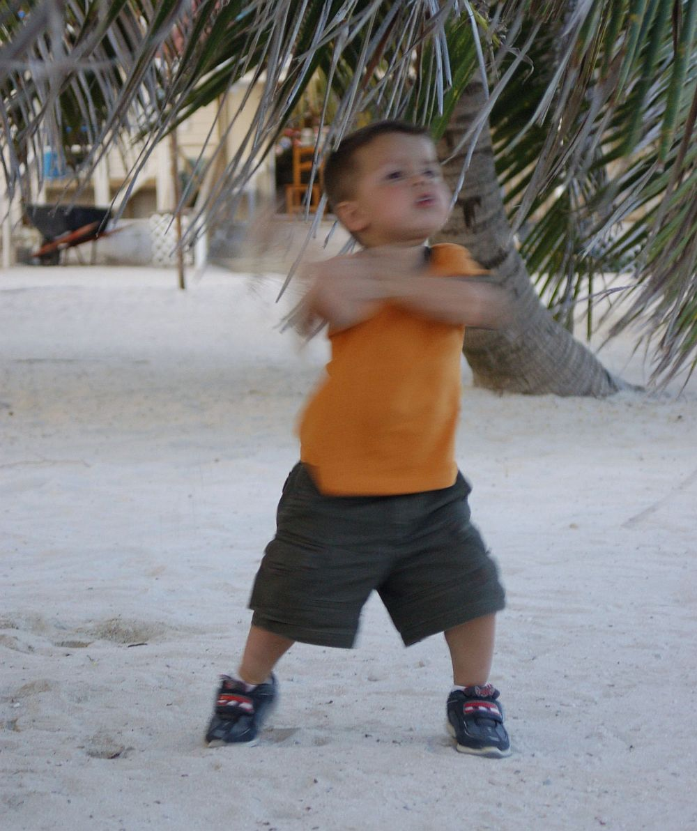 Zeke Dayton, 3, caught hip-shaking to Shakira on the beaches of Ambergris Caye, Belize, September 2005 | Photo by Kat Dayton, St. George News