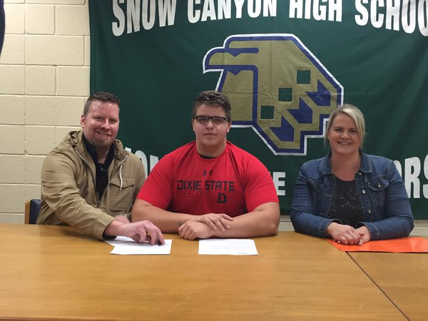 Snow Canyon's Blake Gubler (center) signed Wrednesday with Dixie State. | Photo courtesy SCWarriors Sports