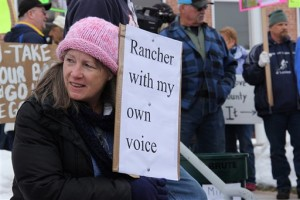 Jennifer Williams, who owns a small ranch outside of Burns, Ore., said she arrived at the demonstrations to send a message that the standoff supporters don't represent the voice of the community outside the Harney County Courthouse in Burns, Ore., Monday, Feb. 1, 2016. Hundreds gathered to protest and support the armed occupation of a national wildlife preserve, Burns, Oregon, February 1, 2016 | Photo by Molly Young/The Oregonian via AP, St. George NewsT