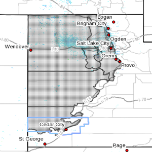 Dots indicate the area affected by the wind advisory, Southwest Utah, Feb. 17, 2016, 4:14 a.m. | Image courtesy of the National Weather Service, St. George News