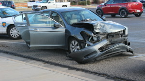 A collision occurred at River Road and 700 South when the driver of a pickup truck went through the intersection while the light changed. The truck collided with a Honda Accord, causing heaving damage to the front of the car. No injuries were resulted from the accident, St. George, Utah, Feb. 18, 2016 | Photo by Mori Kessler, St. George News