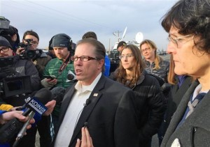 From left, Nevada Assemblyman John Moore, Idaho Rep. Heather Scott and Idaho Rep. Judy Boyle speak to reporters outside the Malheur Wildlife Refuge during the standoff. The end of a nearly six-week-long standoff at an Oregon wildlife refuge played out live on the internet, with tens of thousands of people listening as supporters encouraged the last armed occupiers to surrender. The holdouts surrendered Thursday, having refused to leave the refuge after the group's leaders were arrested last month. Burns, Oregon, Feb. 11, 2016 | Photo by Rebecca Boone(AP), St. George News