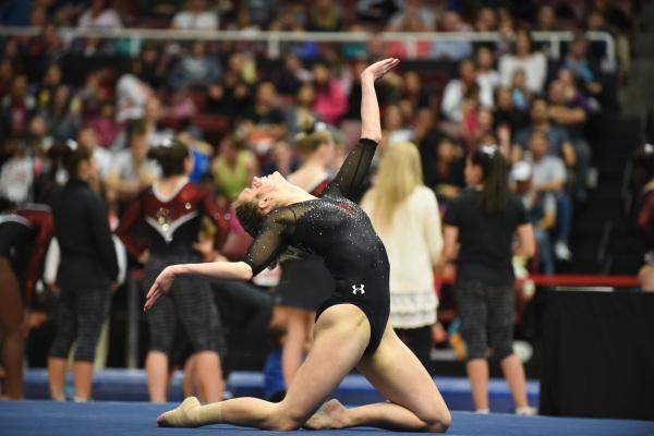 Breanna Hughes vs. Stanford, Palo Alto, Calif., Feb 20, 2016 | Photo by Deena Lofgren, University of Utah Photo Dept.