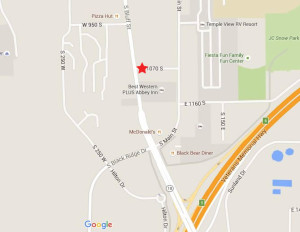 Location of a water line break on 1070 South Street, St. George, Utah, Feb. 27, 2016   Graphic courtesy of Google Maps, St. George News