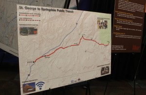 A map of the proposed St. George to Springdale bus route, At the 2016 Dixie Regional Transportation Expo, St. George, Utah, Feb. 9, 2016 | Photo by Mori Kessler, St. George News