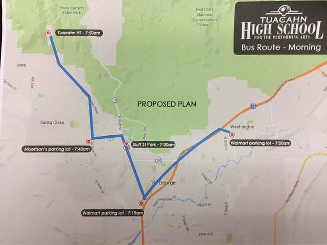 Proposed Tuacahn High School morning bus route | Image courtesy of Tuacahn High School Facebook page, St. George News