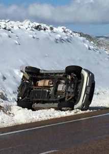 Richfield woman rolls SUV near milepost 5 on state Route 20, Iron County, Utah, March 30, 2016 | Photo by St. George News, St. George News