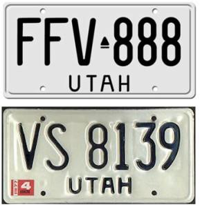 Top, 1974 Utah licene plate. Bottom, 1976 Utah license plate with 1977 year sticker. Undated.   Top image courtesy of Jerome Bulkan, license plates.tv, bottom image courtesy Utah DMV, St. George News