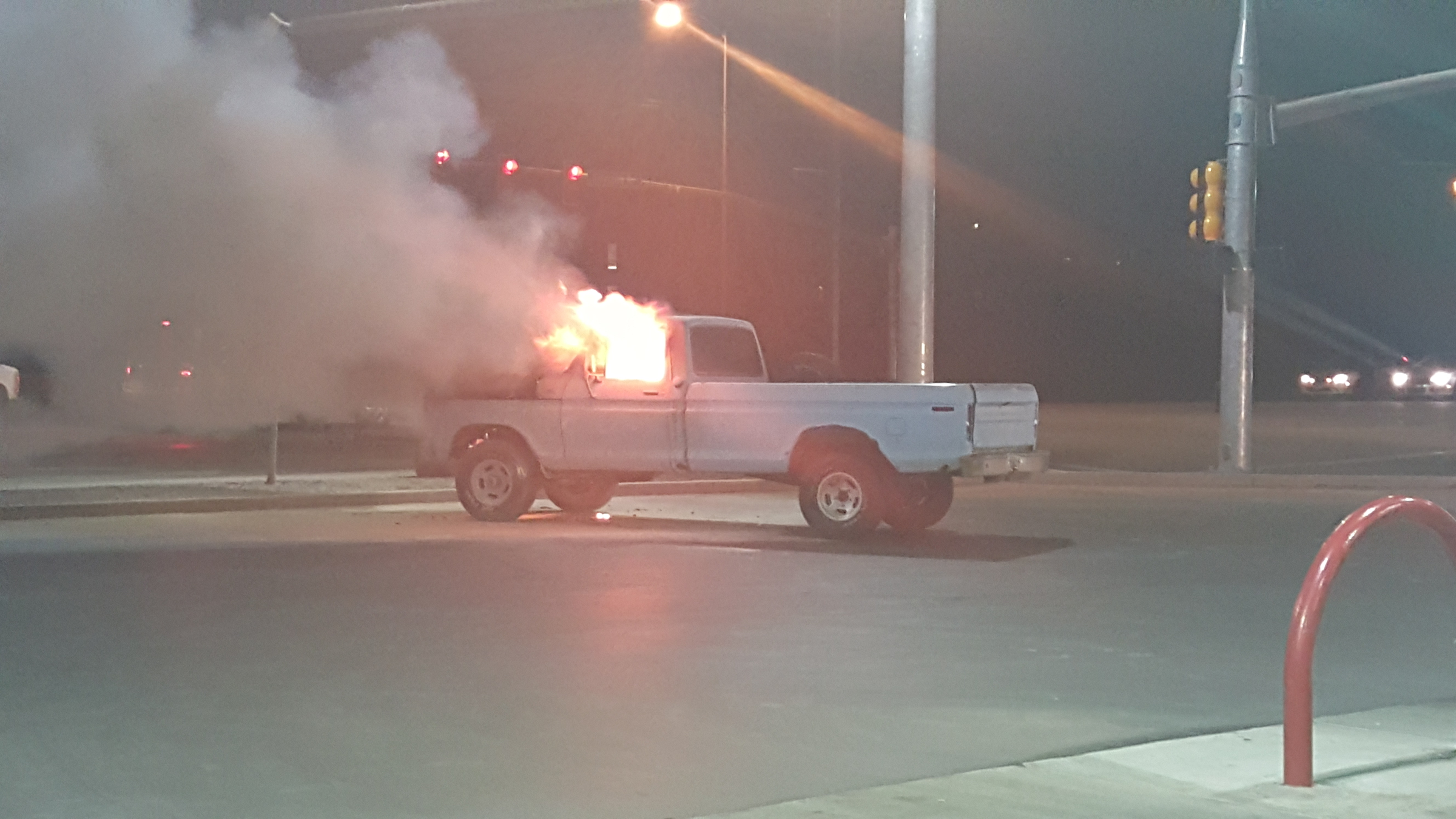 A truck in flames at the Maverik – Adventure's First Stop - convenience store at 2078 E. Riverside Drive, St. George, Utah, March 10 2016 | Photo courtesy of Cody Pitcher, St. George News
