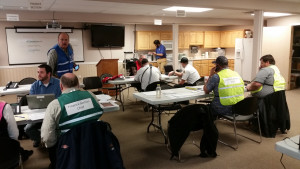 Section chiefs work together to address exercise issues that will translate into actual event problems and solutions, Emergency Center Operations, Cedar City, Utah, March 17, 2016 | Photo Courtesy of Iron County Emergency Management, St. George News